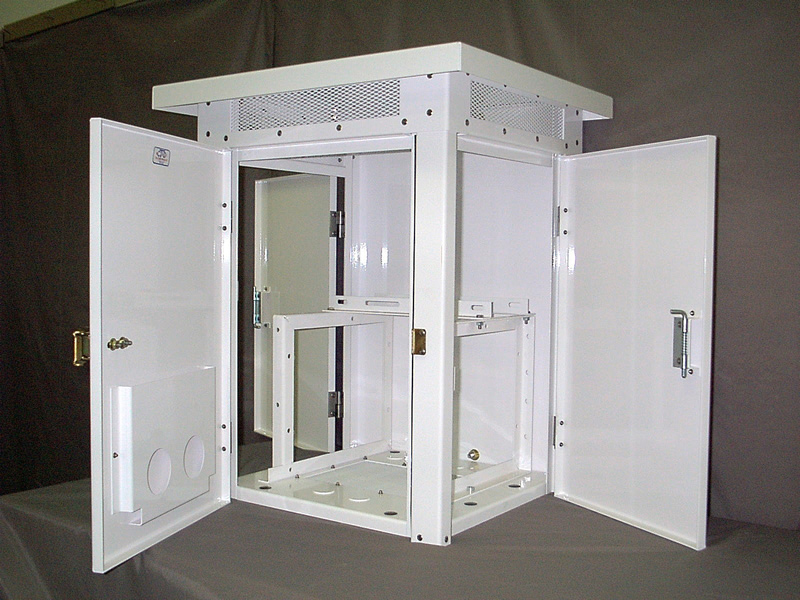 Three Door Polyester Coated Cabinet c/w Slide Out Frame Chassis